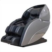 Massage chair with grey outer shell and black leather-upholstered seat in front of a white background.